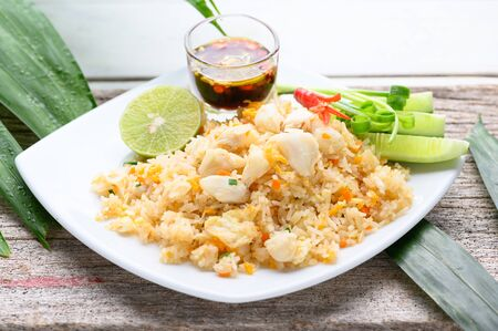 Crab Fried Rice On A White Plate , asian food