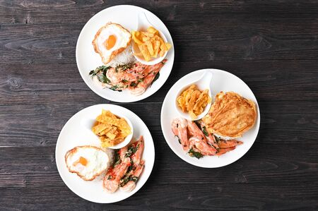 Stir fried Spicy Prawn , Thai Holy Basil With Steamed Rice And Fried egg , Asian Food
