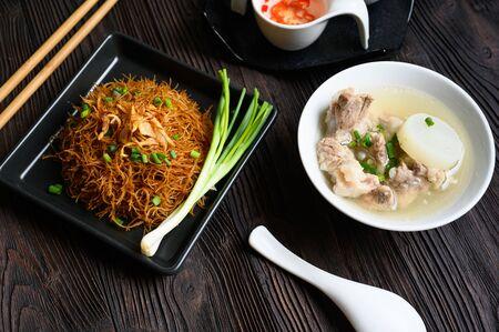 Rice noodles with pork bone stock , phuket thailand street food