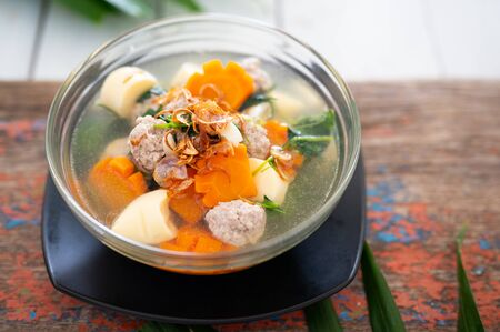 Clear Soup with Ivy Gourd, Tofu and Minced Pork. Asian Food