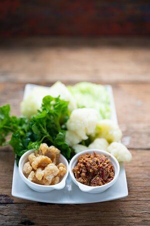 Nam prik or chili paste with boiled various vegetables,Thai food , Asian Food