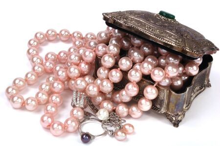 Metel box with pearls necklace and jewelry Stock Photo - 7259430