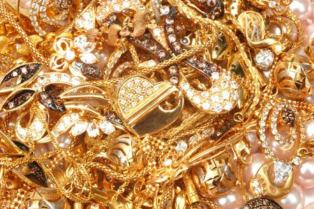 Mixed yellow gold jewelry and pearls, closeup Stock Photo - 7401002