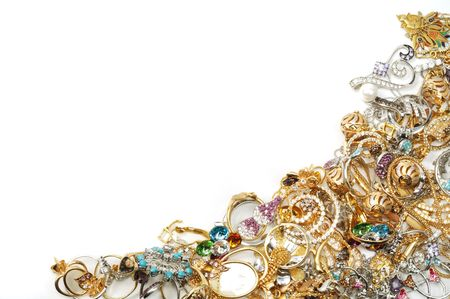 jewelry background: Vintage of yellow and white gold jewelry