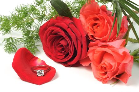 Diamond ring and roses on white background Stock Photo - 8003577