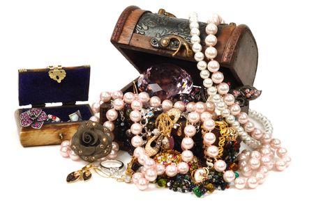 gemstones: Jewelry wooden box full of gold and accessoreis