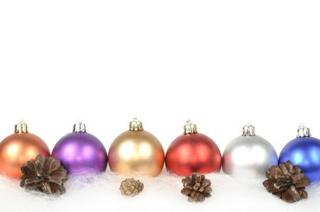 glister: Christmas colorful frame with balls , on white background