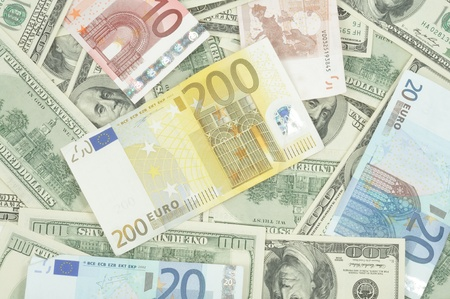 Dollars and evro background, close up photo