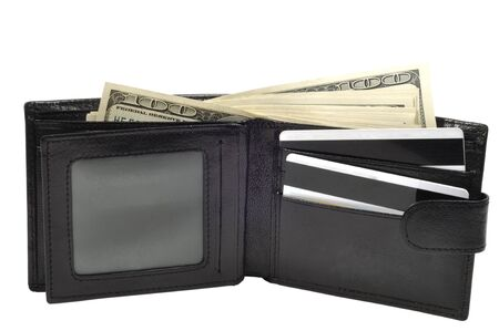 Leather wallet full of dollars  photo