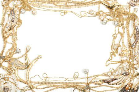 Fashion yellow gold jewelry frame, isolated on white background Stock Photo