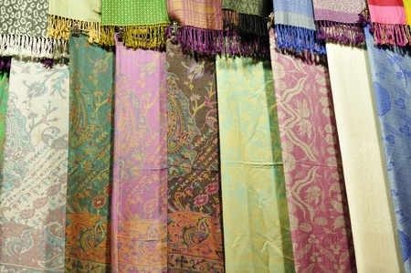 cashmere: Turkey, Istanbul, Grand Bazaar (Kapali Carsi), pashmina and silk scarfs for sale