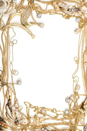 Fashion yellow gold jewelry frame, isolated on white background photo
