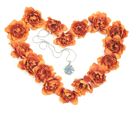 beautiful necklace inside   heart from flowers photo