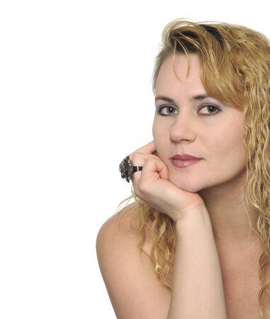 Beautiful blond woman with stylish jewelry ring Stock Photo - 9086650