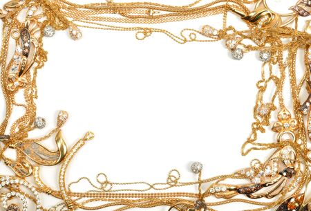 Yellow gold jewelry frame, isolated on white background photo
