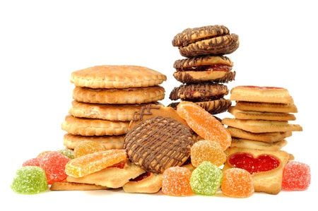 Cookies and jelly candy , on a white background photo