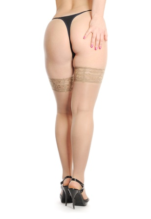 Woman legs in stocking isolated on white background Stock Photo - 9514313