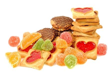 젤리: Cookies and jelly candy , on a white background 스톡 사진