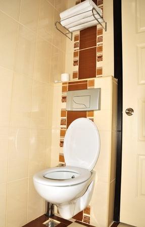 WC cerámica blanco en el cuarto de baño pequeño Foto de archivo - 9740223
