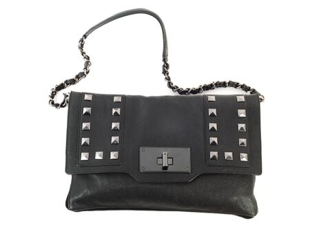 vanity bag: Classic black purse isolated on a white background