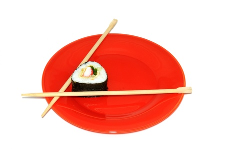 tekka: Traditional Japanese sushi on a red plate,  isolated on white background Stock Photo