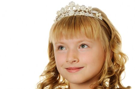 Beautiful happy girl with diadem looking up, isolated on white Stock Photo - 10181884