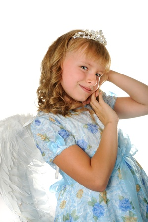 Beautiful happy girl with diadem and angel wings, isolated on white Stock Photo - 10181882