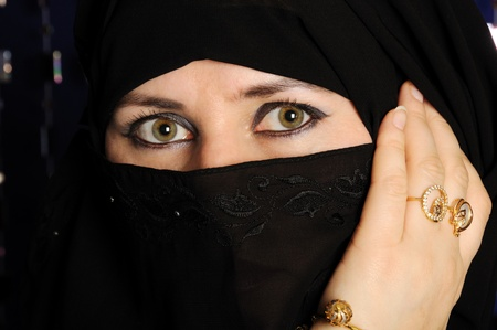 burqa: Close up picture of a Muslim woman wearing a black veil Stock Photo