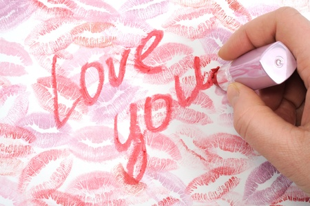 Print of lips kisses and hand writing  photo