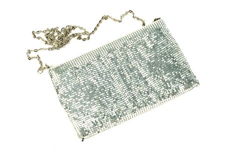 vanity bag: Silver woman purse  on a white background