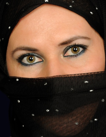Close up picture of a Muslim woman wearing a black veil Stock Photo - 10905652