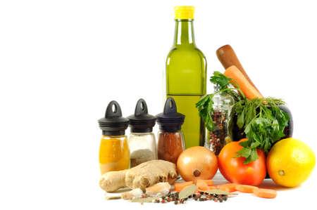 Vegatebles , spice and olive oil , on a white background Stock Photo - 10939458