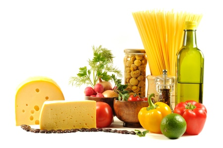 Vegetables , pasta, cheese and different spice,  on a white background