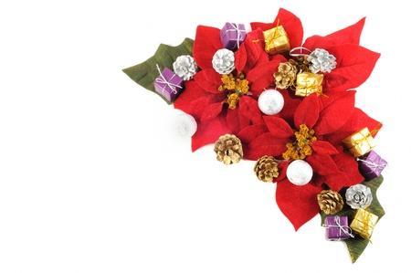 Christmas flower poinsettia with xmas decor on a white background photo