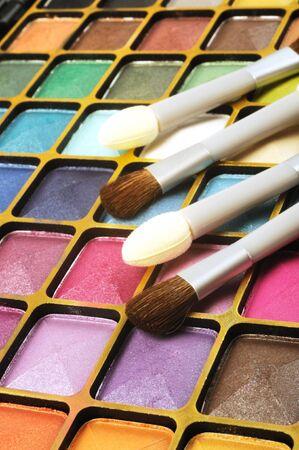 Decorative colorful eyeshadow and brushes , close up shot Stock Photo - 11294164