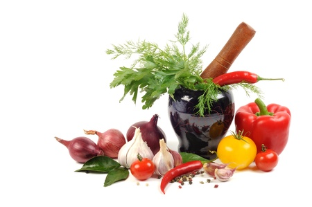 Vegetables and spice, cooking concept, on a white background photo