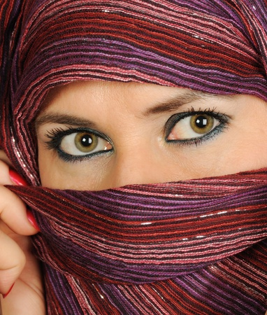 veiled: Close up picture of a Muslim woman wearing a  veil