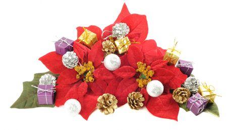 Christmas flower poinsettia with xmas decor on a white background