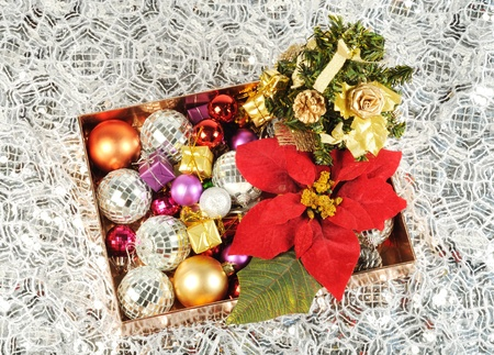 Christmas balls and other decor in a box , silver background photo
