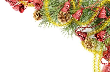Christmas tree branches border with decor on a white background photo
