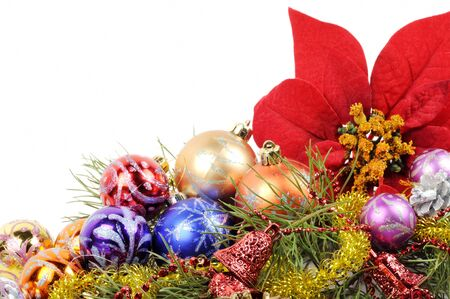 Christmas flower poinsettia with xmas colorfull balls  and other decor photo
