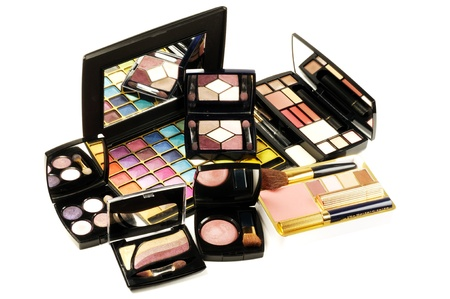 palitra: Decorative colorful makeup sets ,on a white background, close up shot