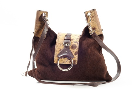 Brown leather woman purse, on a white background photo