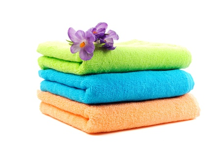 Pure cotton colorful towels  , on a white background Stock Photo - 12843960