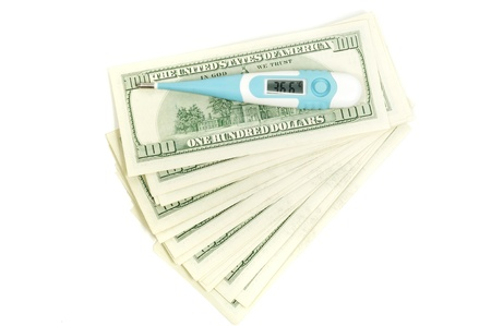 36 6: Medical thermometer on  dollars showing 36 6 Stock Photo