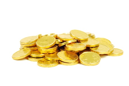 gold coins: Gold coins of one euro, isolated on white