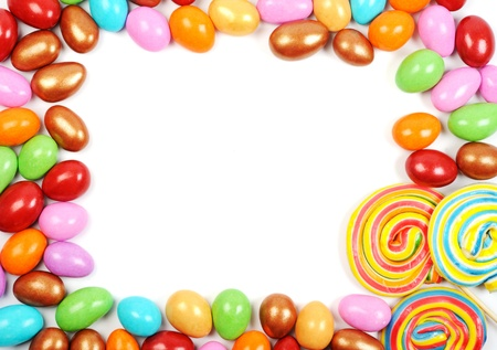 A lot of colorful sweets , frame with white background Stock Photo