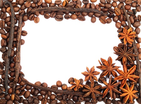 Frame from coffee beans , anise and vanilla on  a white background photo