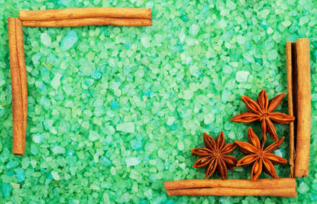 Frame  with green bath salt, anice and cinnamon,  photo