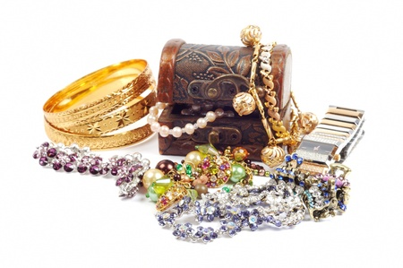 Accessory and jewelry in a wooden jewel chest, over white Stock Photo - 13338805